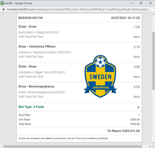 sweden fixed match for today